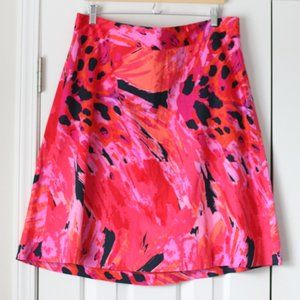 Lane Bryant pink red watercolor a line skirt